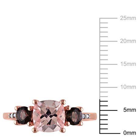 Bague à 3 pierres Tangelo avec morganite et quartz fumés 2-1/7 CT PBT et accents de diamants en argent sterling plaqué de rhodium rosé - image 3 de 5