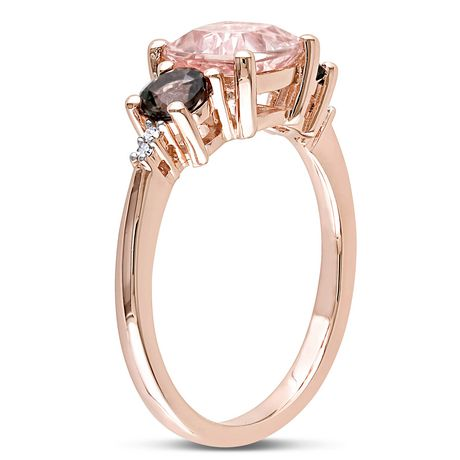 Bague à 3 pierres Tangelo avec morganite et quartz fumés 2-1/7 CT PBT et accents de diamants en argent sterling plaqué de rhodium rosé - image 2 de 5