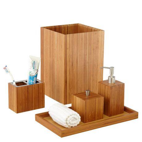 Ensemble 5 pièces d\'accessoires de salle de bain en bambou de ...