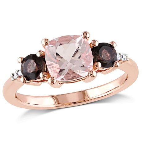 Bague à 3 pierres Tangelo avec morganite et quartz fumés 2-1/7 CT PBT et accents de diamants en argent sterling plaqué de rhodium rosé - image 1 de 5
