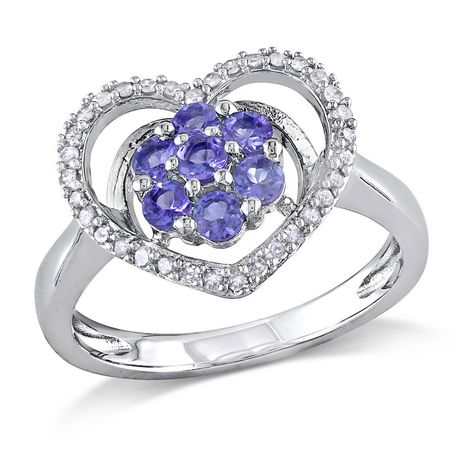 Tangelo 1/2 Carat T.G.W. Tanzanite and 1/6 Carat T.W. Diamond Sterling Silver Heart Ring - image 1 of 5