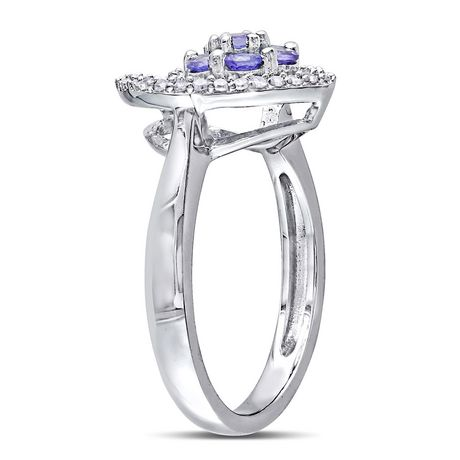 Tangelo 1/2 Carat T.G.W. Tanzanite and 1/6 Carat T.W. Diamond Sterling Silver Heart Ring - image 2 of 5