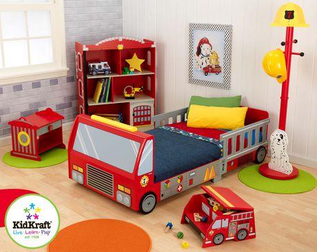 Kidkraft fire truck toddler bed for Lit kidkraft