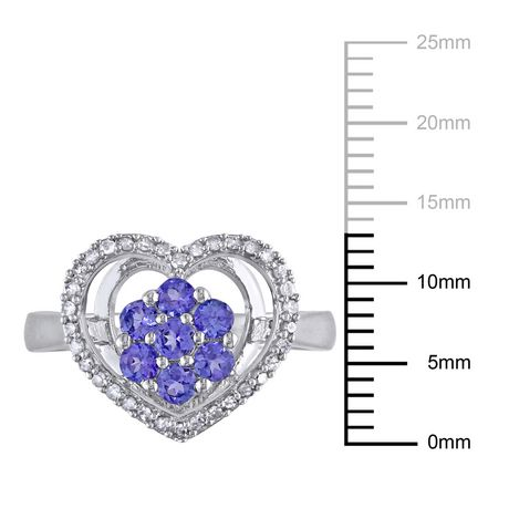 Tangelo 1/2 Carat T.G.W. Tanzanite and 1/6 Carat T.W. Diamond Sterling Silver Heart Ring - image 3 of 5