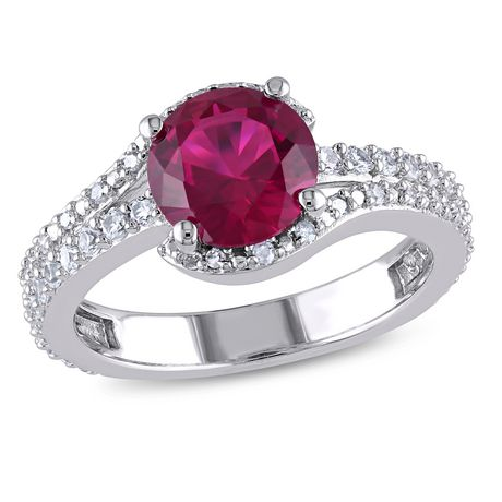 1 7//8 ct Created Ruby /& White Sapphire Ring in Sterling Silver