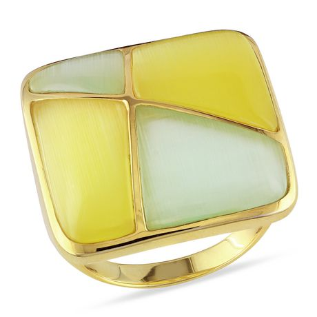 Tangelo Simulated Cat Eye Yellow Rhodium-Plated Sterling Silver Cocktail Ring - image 1 of 2