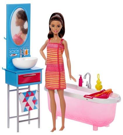 barbie poup e et mobilier coffret de jeu salle de bain walmart canada. Black Bedroom Furniture Sets. Home Design Ideas