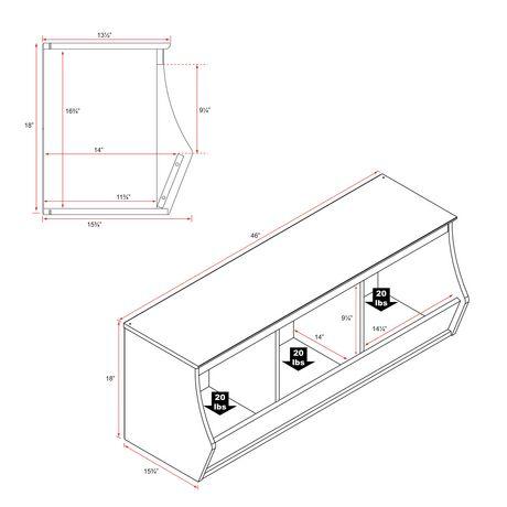 Casier de rangement Monterey de Prepac empilable à 3 compartiments en blanc - image 3 de 5