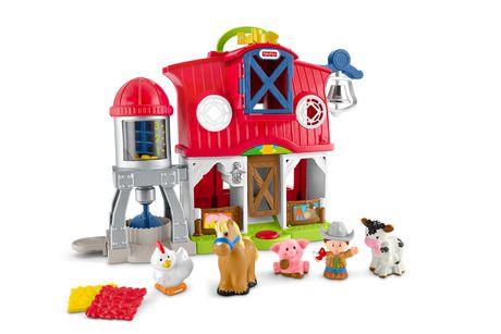 Red and white plastic toy barn set with farm animals made by Fisher-Price