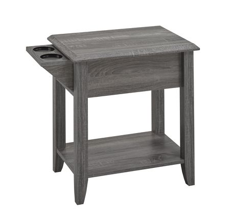 Telephone Stand with Storage Drawer and Built-In Cup Holders, Grey - image 1 of 2