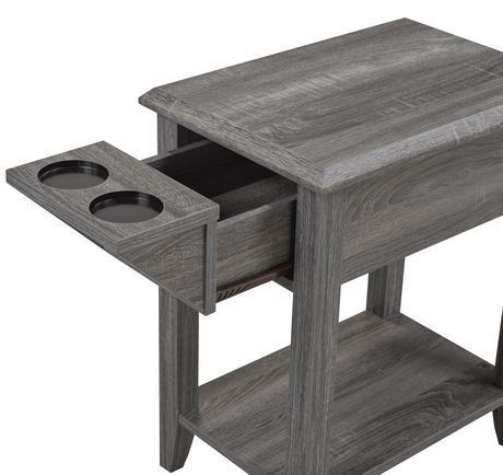 Telephone Stand with Storage Drawer and Built-In Cup Holders, Grey - image 2 of 2