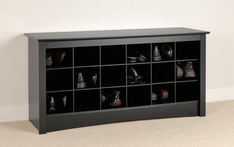 Shoe Storage Cubbie Bench Black