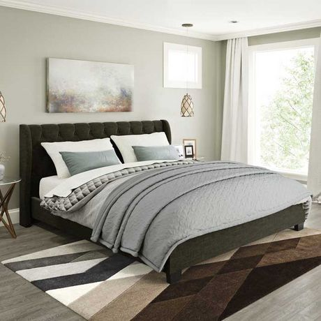 CorLiving Fairfield Tufted Headboard Brown Upholstered Platform Bed - image 3 of 5