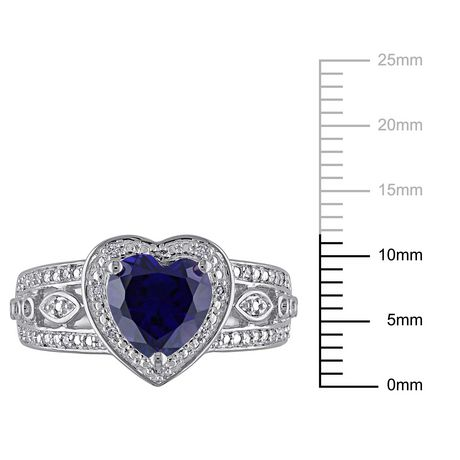 Tangelo 2-1/4 Carat T.G.W. Created Blue Sapphire and 1/10 Carat T.W. Diamond Sterling Silver Halo Heart Ring - image 3 of 5