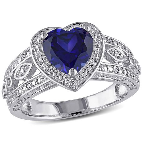 Tangelo 2-1/4 Carat T.G.W. Created Blue Sapphire and 1/10 Carat T.W. Diamond Sterling Silver Halo Heart Ring - image 1 of 5