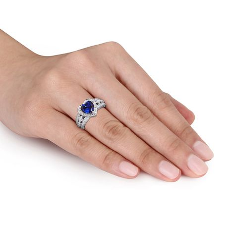 Tangelo 2-1/4 Carat T.G.W. Created Blue Sapphire and 1/10 Carat T.W. Diamond Sterling Silver Halo Heart Ring - image 4 of 5
