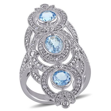 Tangelo 2 Carat T.G.W. Blue Topaz and 1/10 Carat T.W. Diamond Sterling Silver Vintage Filigree Cocktail Ring - image 1 of 5