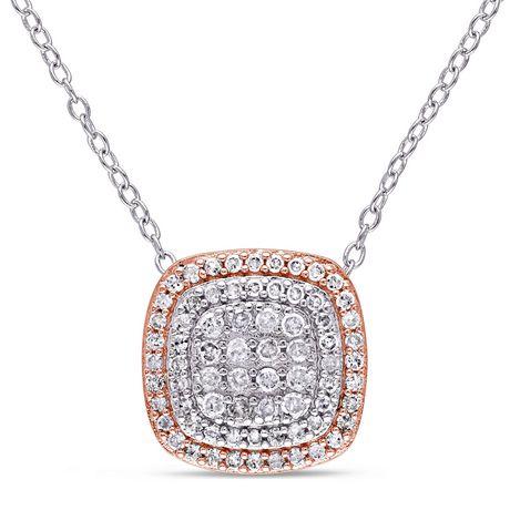 Pendentif auréole double Miabella avec diamants 1/2 CT poids total en argent sterling double ton, 18 po - image 1 de 4