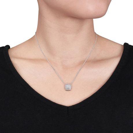 Pendentif auréole double Miabella avec diamants 1/2 CT poids total en argent sterling double ton, 18 po - image 3 de 4