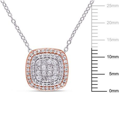 Pendentif auréole double Miabella avec diamants 1/2 CT poids total en argent sterling double ton, 18 po - image 2 de 4
