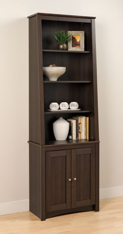 Prepac Tall Slant-Back Bookcase with 2 Shaker Doors Espresso - image 2 of 5