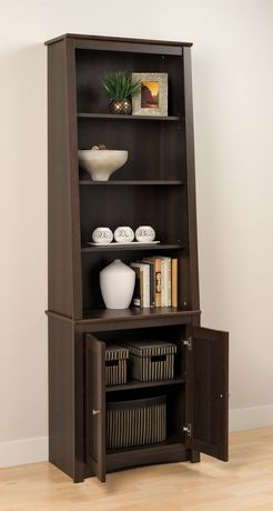 Prepac Tall Slant-Back Bookcase with 2 Shaker Doors Espresso - image 3 of 5