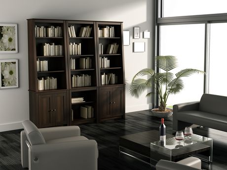 Prepac Tall Slant-Back Bookcase with 2 Shaker Doors Espresso - image 4 of 5
