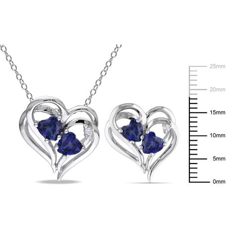 """Tangelo 3-1/3 Carat T.G.W. Created Blue Sapphire and Diamond-Accent Sterling Silver Heart Earrings and Pendant Set, 18"""" - image 2 of 5"""
