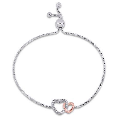 Argent Sterling 925 Bolo Bracelet avec Charms Réglable Bijoux