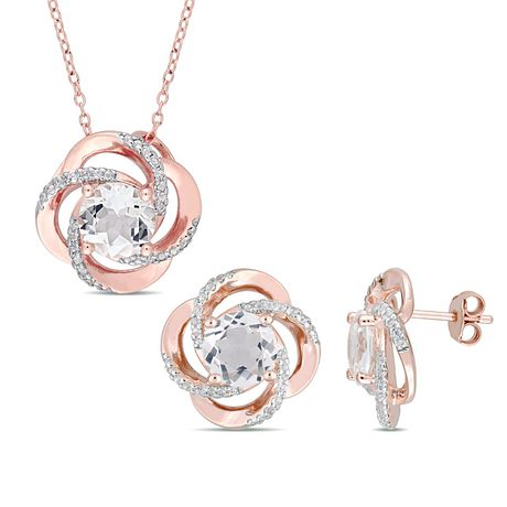 """Miabella 7-3/4 Carat T.G.W. White Topaz Rose Rhodium-Plated Sterling Silver Swirl Pendant and Earrings Set, 18"""" - image 1 of 5"""