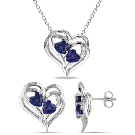 """Tangelo 3-1/3 Carat T.G.W. Created Blue Sapphire and Diamond-Accent Sterling Silver Heart Earrings and Pendant Set, 18"""" - image 1 of 5"""