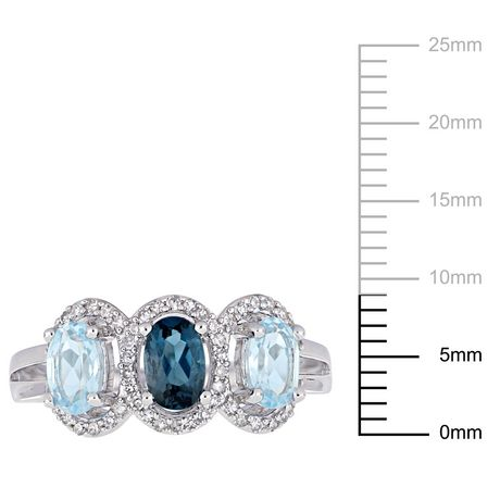Tangelo 1-3/5 Carat T.G.W. Blue Topaz and 1/5 Carat T.W. Diamond Sterling Silver Three-Stone Halo Ring - image 3 of 5