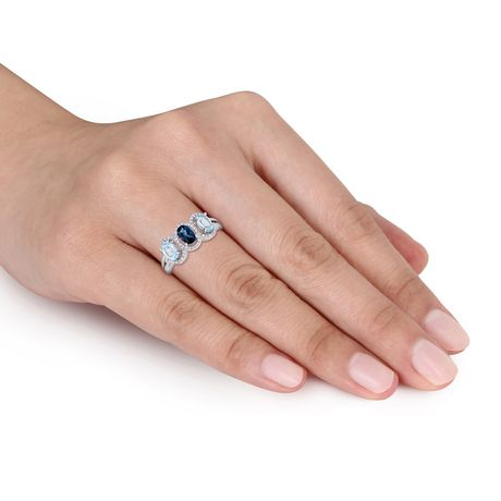 Tangelo 1-3/5 Carat T.G.W. Blue Topaz and 1/5 Carat T.W. Diamond Sterling Silver Three-Stone Halo Ring - image 4 of 5