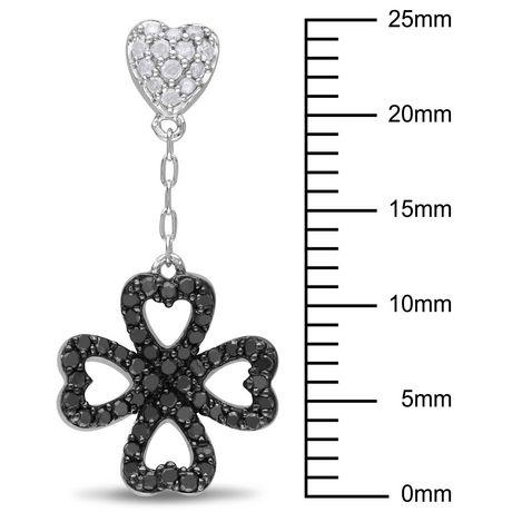 Boucles d'oreille de forme cœur et trèfle Asteria avec diamants noirs et blancs 1/2 CT poids total en argent sterling - image 2 de 3