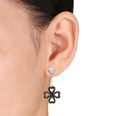 Boucles d'oreille de forme cœur et trèfle Asteria avec diamants noirs et blancs 1/2 CT poids total en argent sterling - image 3 de 3