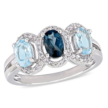Tangelo 1-3/5 Carat T.G.W. Blue Topaz and 1/5 Carat T.W. Diamond Sterling Silver Three-Stone Halo Ring - image 1 of 5