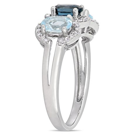 Tangelo 1-3/5 Carat T.G.W. Blue Topaz and 1/5 Carat T.W. Diamond Sterling Silver Three-Stone Halo Ring - image 2 of 5
