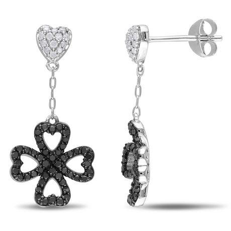 Boucles d'oreille de forme cœur et trèfle Asteria avec diamants noirs et blancs 1/2 CT poids total en argent sterling - image 1 de 3