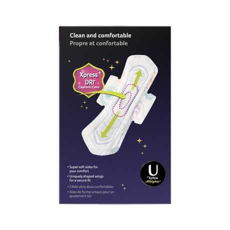 U by Kotex AllNighter Ultra Thin Overnight Pads with Wings, Fragrance-Free, 28 Count - image 2 of 3