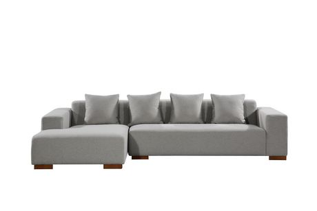 Velago Lyon Light Grey Fabric Sectional Sofa Walmart Canada
