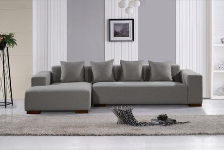 Velago lyon light grey fabric sectional sofa walmart canada for Light grey sectional sofa canada