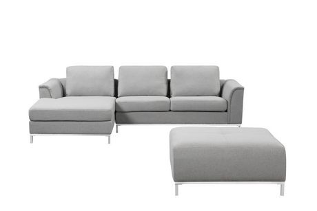 Velago ollon light grey fabric sectional sofa walmart canada for Light grey sectional sofa canada
