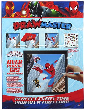 Drawmaster toy with drawing templates for Spider-Man and Iron Man