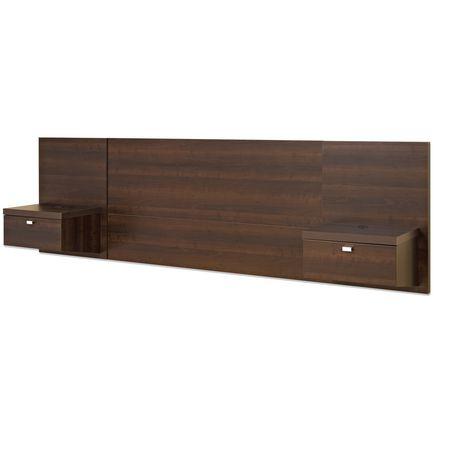 dossier de lit flottant de la s rie d cor 9 de prepac avec table de chevet. Black Bedroom Furniture Sets. Home Design Ideas