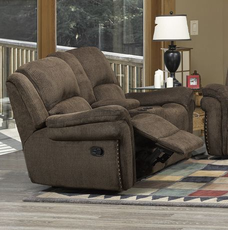 Edward recliner love seat with storage console brown for Liquidation causeuse
