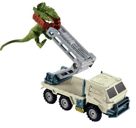 Matchbox Jurassic World Dino Transporters Dilopho-Loader Vehicle and Figure - image 1 of 8