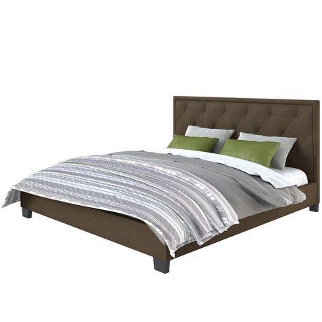 Lit plateforme capitonné Fairfield de CorLiving en brun avec tête de lit touffeté en losanges - image 2 de 5