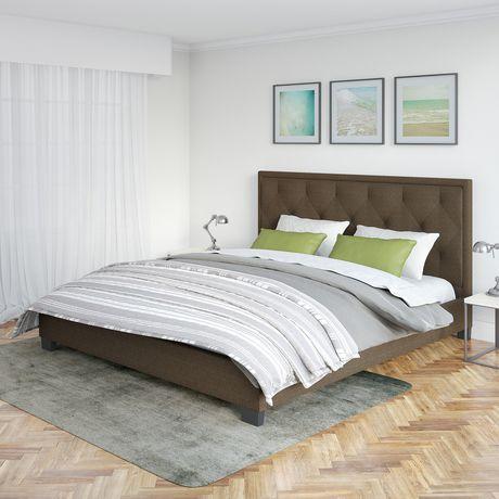 Lit plateforme capitonné Fairfield de CorLiving en brun avec tête de lit touffeté en losanges - image 3 de 5
