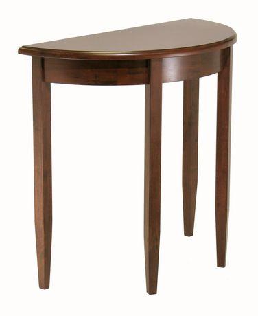 beautiful walnut finish half moon hall table with tapered legs walmart canada. Black Bedroom Furniture Sets. Home Design Ideas