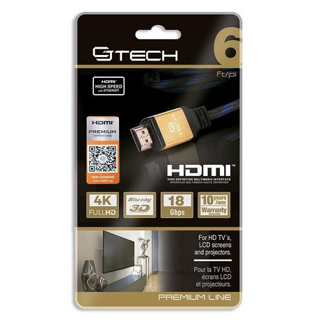 CJ Tech Premium 4K 3D HDMI 2.0 Cable with Ethernet - 6ft - image 2 of 2